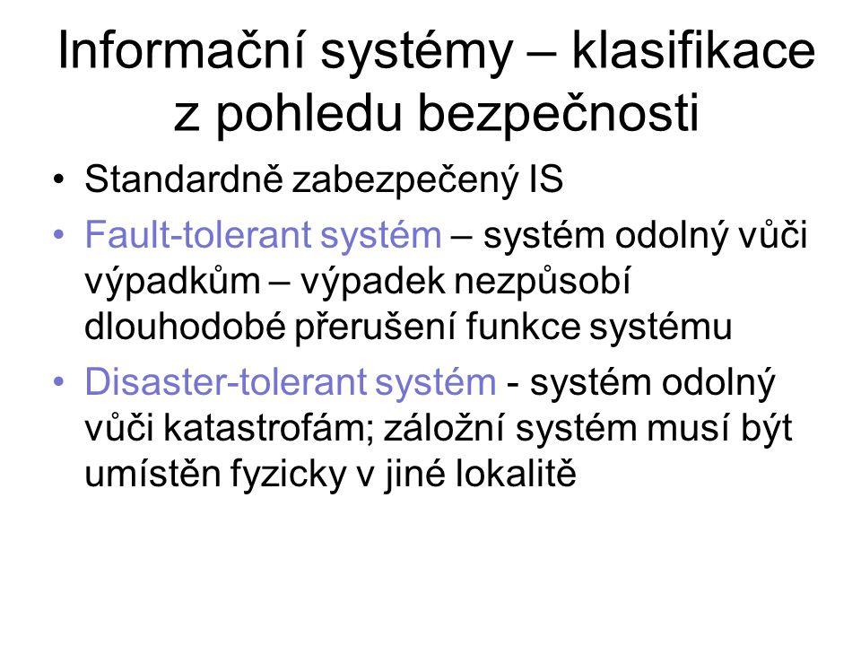 Informační systémy – klasifikace z pohledu bezpečnosti Standardně zabezpečený IS Fault-tolerant systém – systém odolný vůči výpadkům – výpadek nezpůsobí dlouhodobé přerušení funkce systému Disaster-tolerant systém - systém odolný vůči katastrofám; záložní systém musí být umístěn fyzicky v jiné lokalitě