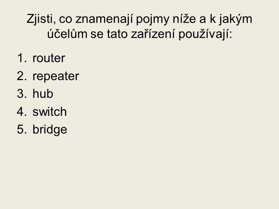 Zjisti, co znamenají pojmy níže a k jakým účelům se tato zařízení používají: 1.router 2.repeater 3.hub 4.switch 5.bridge