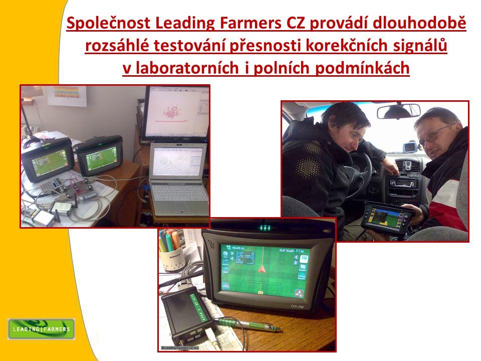 Společnost Leading Farmers CZ provádí dlouhodobě rozsáhlé testování přesnosti korekčních signálů v laboratorních i polních podmínkách