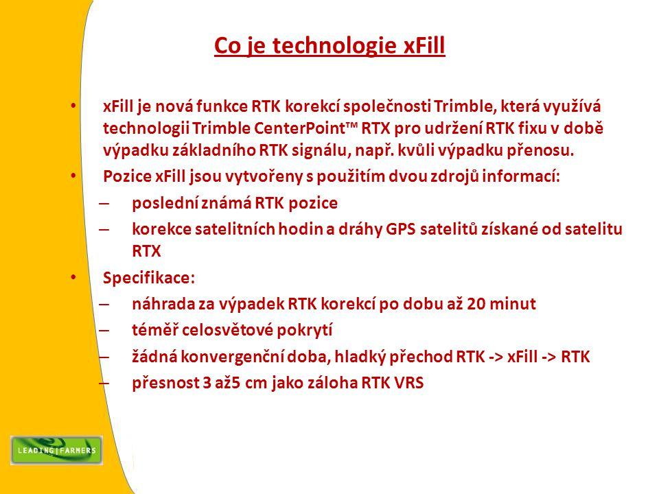Co je technologie xFill xFill je nová funkce RTK korekcí společnosti Trimble, která využívá technologii Trimble CenterPoint™ RTX pro udržení RTK fixu