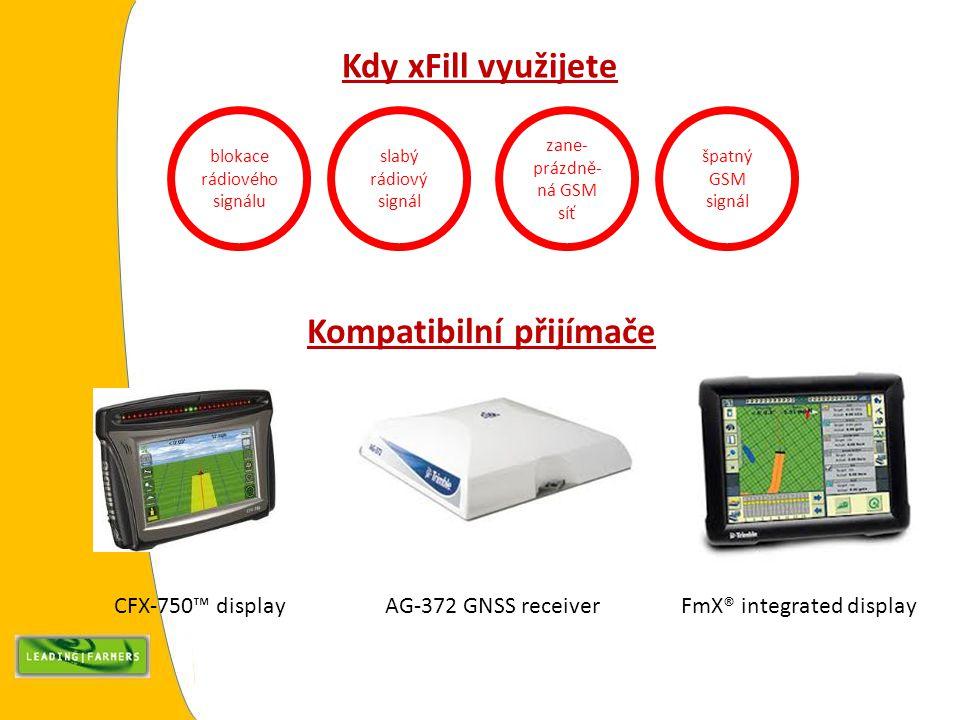 Kdy xFill využijete blokace rádiového signálu slabý rádiový signál zane- prázdně- ná GSM síť špatný GSM signál Kompatibilní přijímače CFX-750™ display FmX® integrated display AG-372 GNSS receiver