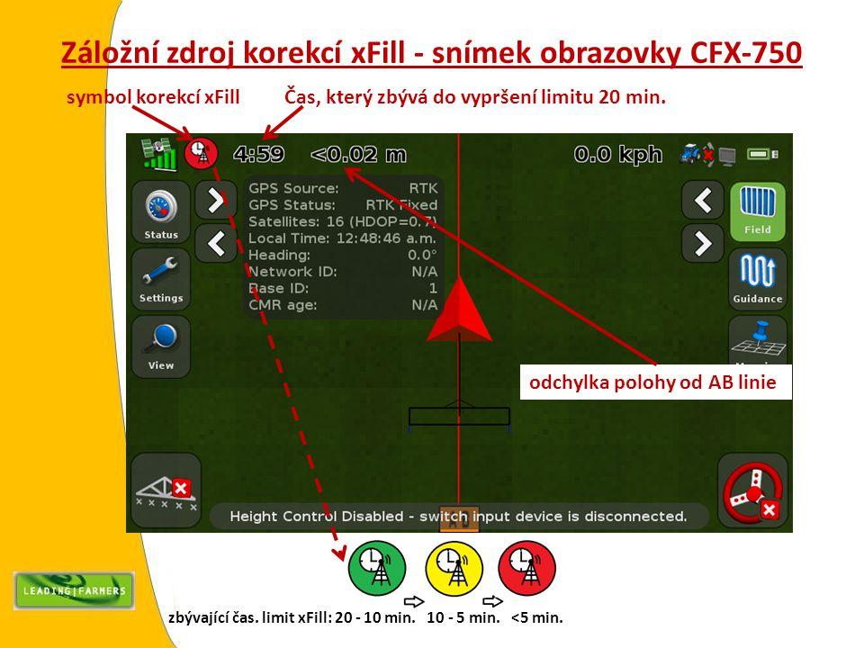 Záložní zdroj korekcí xFill - snímek obrazovky CFX-750 symbol korekcí xFill Čas, který zbývá do vypršení limitu 20 min. odchylka polohy od AB linie zb