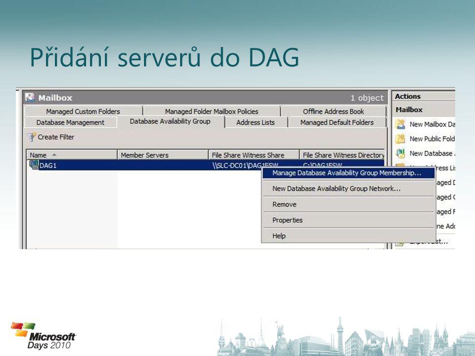 Přidání serverů do DAG