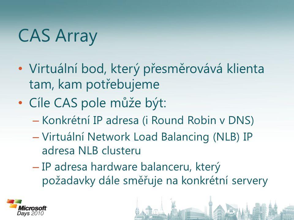 Virtuální bod, který přesměrovává klienta tam, kam potřebujeme Cíle CAS pole může být: – Konkrétní IP adresa (i Round Robin v DNS) – Virtuální Network