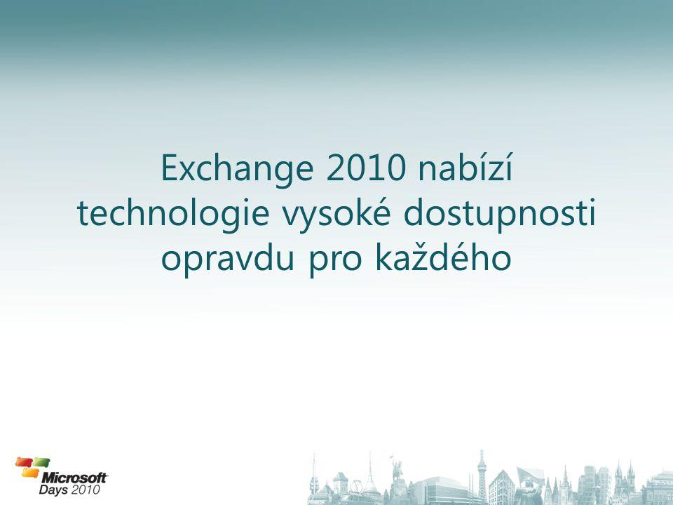 Nové možnosti nasazení 70% snížení IOPS proti Ex2007 90% snížení IOPS proti Ex2003 Pružná reakce na HW výpadek Díky vylepšenému výkonu na úrovni úložiště se nabízí zcela nové možnosti nasazení