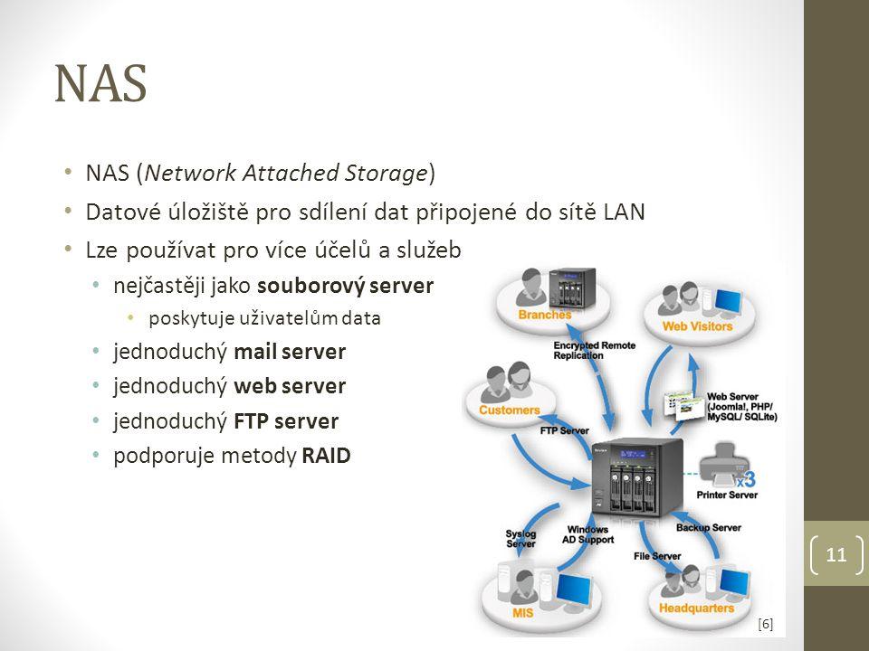 NAS NAS (Network Attached Storage) Datové úložiště pro sdílení dat připojené do sítě LAN Lze používat pro více účelů a služeb nejčastěji jako souborový server poskytuje uživatelům data jednoduchý mail server jednoduchý web server jednoduchý FTP server podporuje metody RAID 11 [6][6]