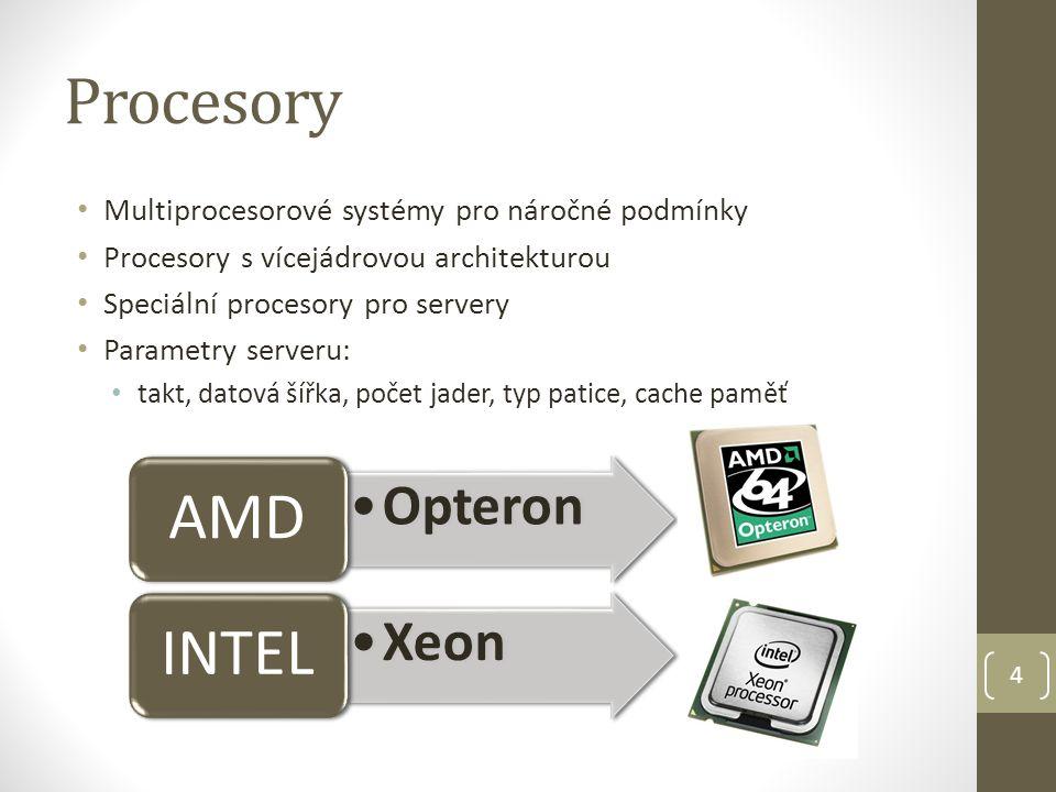 Procesory Multiprocesorové systémy pro náročné podmínky Procesory s vícejádrovou architekturou Speciální procesory pro servery Parametry serveru: takt, datová šířka, počet jader, typ patice, cache paměť 4 Opteron AMD Xeon INTEL