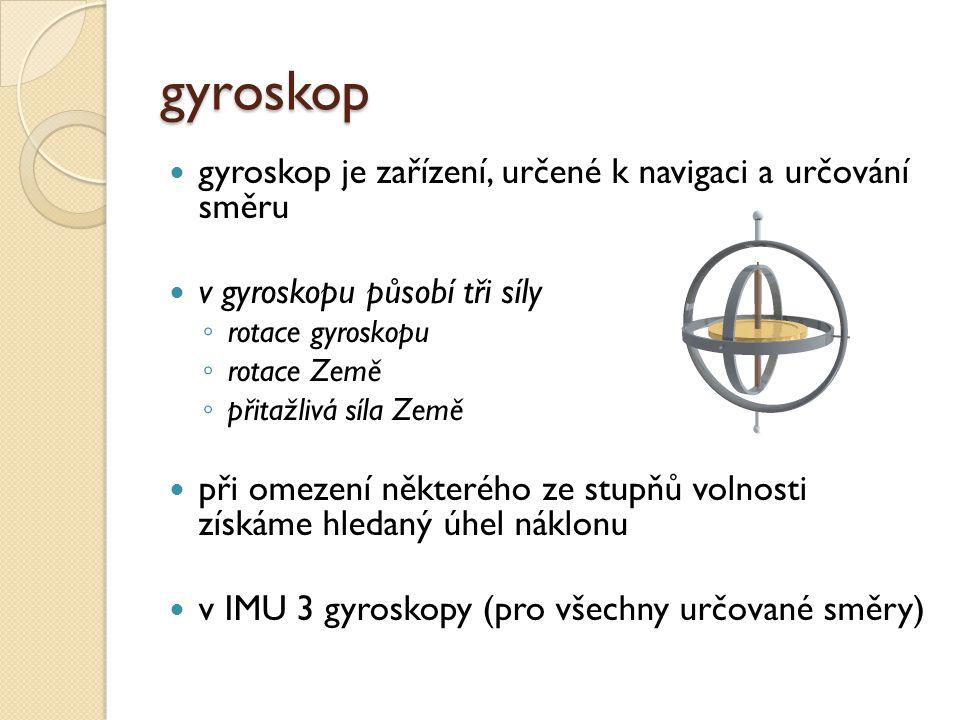 gyroskop gyroskop je zařízení, určené k navigaci a určování směru v gyroskopu působí tři síly ◦ rotace gyroskopu ◦ rotace Země ◦ přitažlivá síla Země