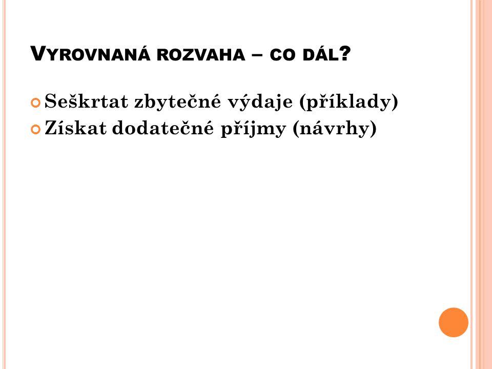 V YROVNANÁ ROZVAHA – CO DÁL Seškrtat zbytečné výdaje (příklady) Získat dodatečné příjmy (návrhy)