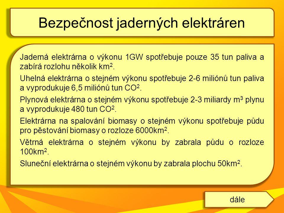 Jaderná elektrárna o výkonu 1GW spotřebuje pouze 35 tun paliva a zabírá rozlohu několik km 2. Uhelná elektrárna o stejném výkonu spotřebuje 2-6 milión