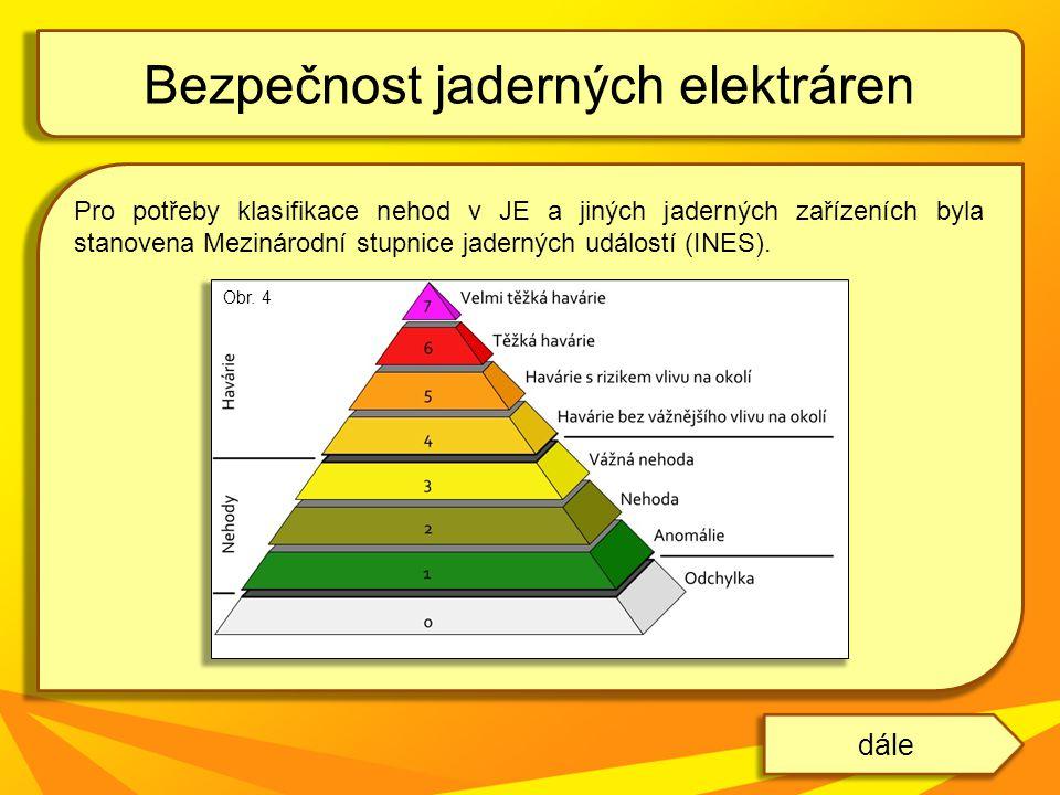 Pro potřeby klasifikace nehod v JE a jiných jaderných zařízeních byla stanovena Mezinárodní stupnice jaderných událostí (INES). Bezpečnost jaderných e