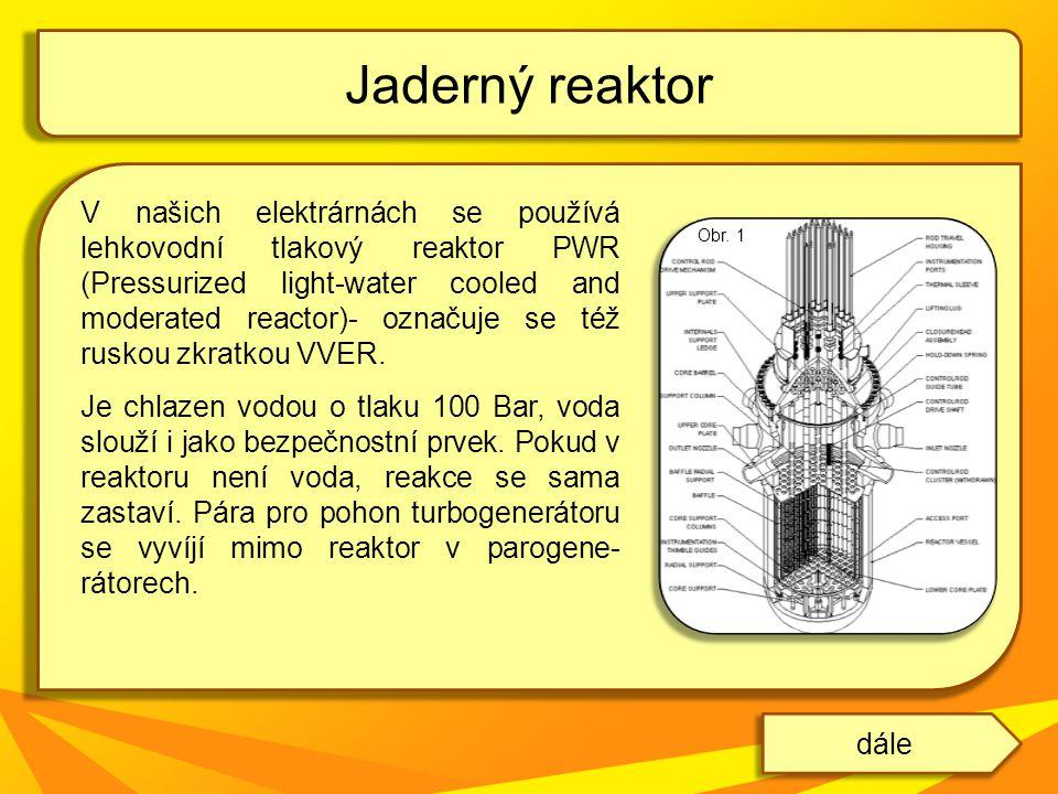 Další typy reaktorů: BWR – varný reaktor nejběžnější typ chladivem i moderátorem je voda má vyšší energetickou účinnosti, ale nižší koeficient bezpečnosti Grafitem moderované typy reaktorů RBMK – varný reaktor lehkovodní grafitový reaktor při nesprávném použití je velmi nebezpečný byl použit v Černobylu Jaderný reaktor dále