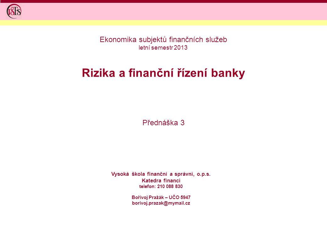 Rizika a finanční řízení banky Přednáška 3 Vysoká škola finanční a správní, o.p.s. Katedra financí telefon: 210 088 830 Bořivoj Pražák – UČO 5947 bori