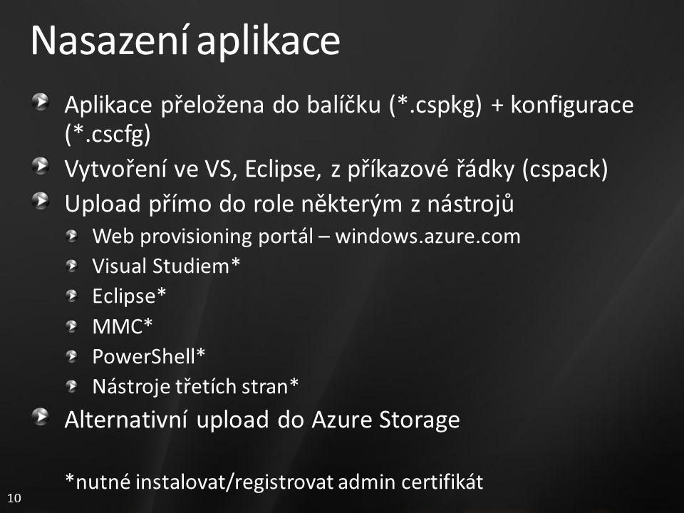 10 Nasazení aplikace Aplikace přeložena do balíčku (*.cspkg) + konfigurace (*.cscfg) Vytvoření ve VS, Eclipse, z příkazové řádky (cspack) Upload přímo do role některým z nástrojů Web provisioning portál – windows.azure.com Visual Studiem* Eclipse* MMC* PowerShell* Nástroje třetích stran* Alternativní upload do Azure Storage *nutné instalovat/registrovat admin certifikát