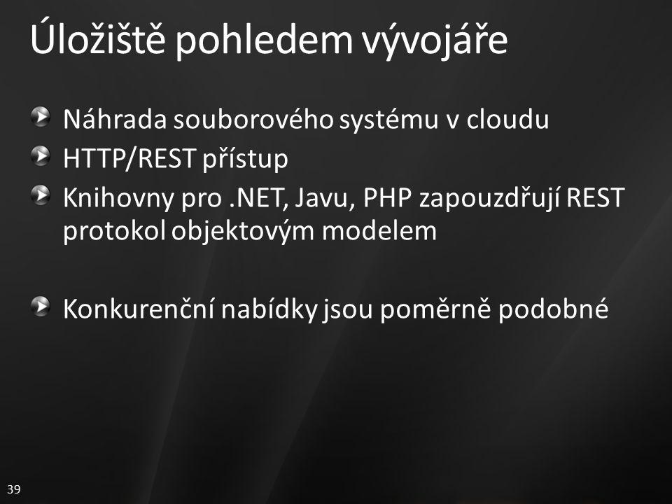 39 Úložiště pohledem vývojáře Náhrada souborového systému v cloudu HTTP/REST přístup Knihovny pro.NET, Javu, PHP zapouzdřují REST protokol objektovým modelem Konkurenční nabídky jsou poměrně podobné