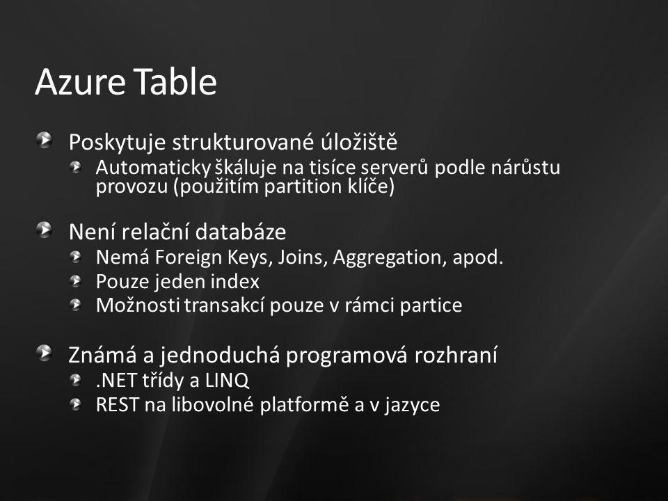 Poskytuje strukturované úložiště Automaticky škáluje na tisíce serverů podle nárůstu provozu (použitím partition klíče) Není relační databáze Nemá Foreign Keys, Joins, Aggregation, apod.