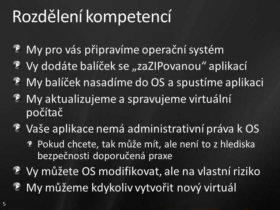 """5 Rozdělení kompetencí My pro vás připravíme operační systém Vy dodáte balíček se """"zaZIPovanou aplikací My balíček nasadíme do OS a spustíme aplikaci My aktualizujeme a spravujeme virtuální počítač Vaše aplikace nemá administrativní práva k OS Pokud chcete, tak může mít, ale není to z hlediska bezpečnosti doporučená praxe Vy můžete OS modifikovat, ale na vlastní riziko My můžeme kdykoliv vytvořit nový virtuál"""