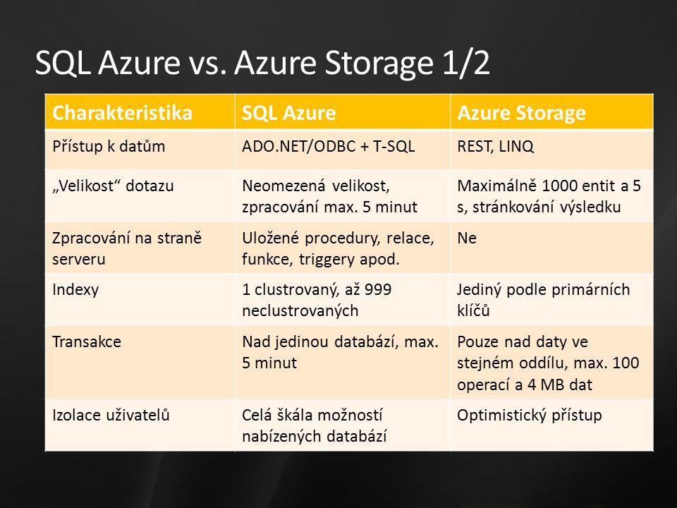 """SQL Azure vs. Azure Storage 1/2 CharakteristikaSQL AzureAzure Storage Přístup k datůmADO.NET/ODBC + T-SQLREST, LINQ """"Velikost"""" dotazuNeomezená velikos"""
