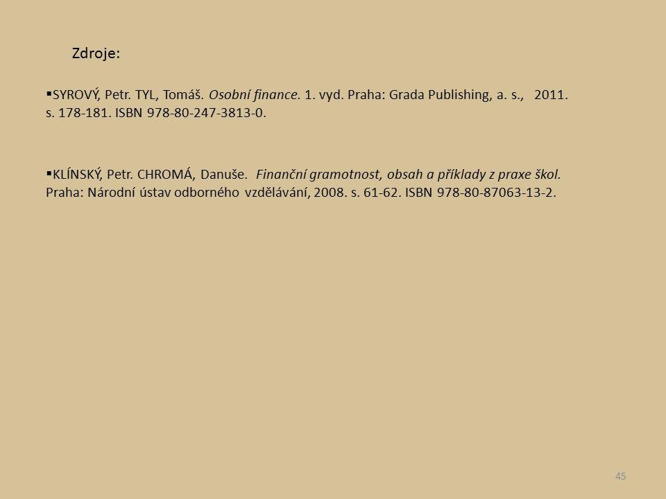  SYROVÝ, Petr. TYL, Tomáš. Osobní finance. 1. vyd. Praha: Grada Publishing, a. s., 2011. s. 178-181. ISBN 978-80-247-3813-0.  KLÍNSKÝ, Petr. CHROMÁ,
