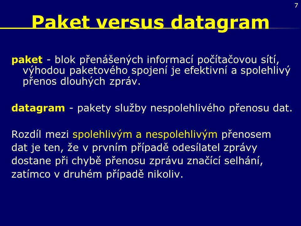 7 Paket versus datagram paket - blok přenášených informací počítačovou sítí, výhodou paketového spojení je efektivní a spolehlivý přenos dlouhých zprá