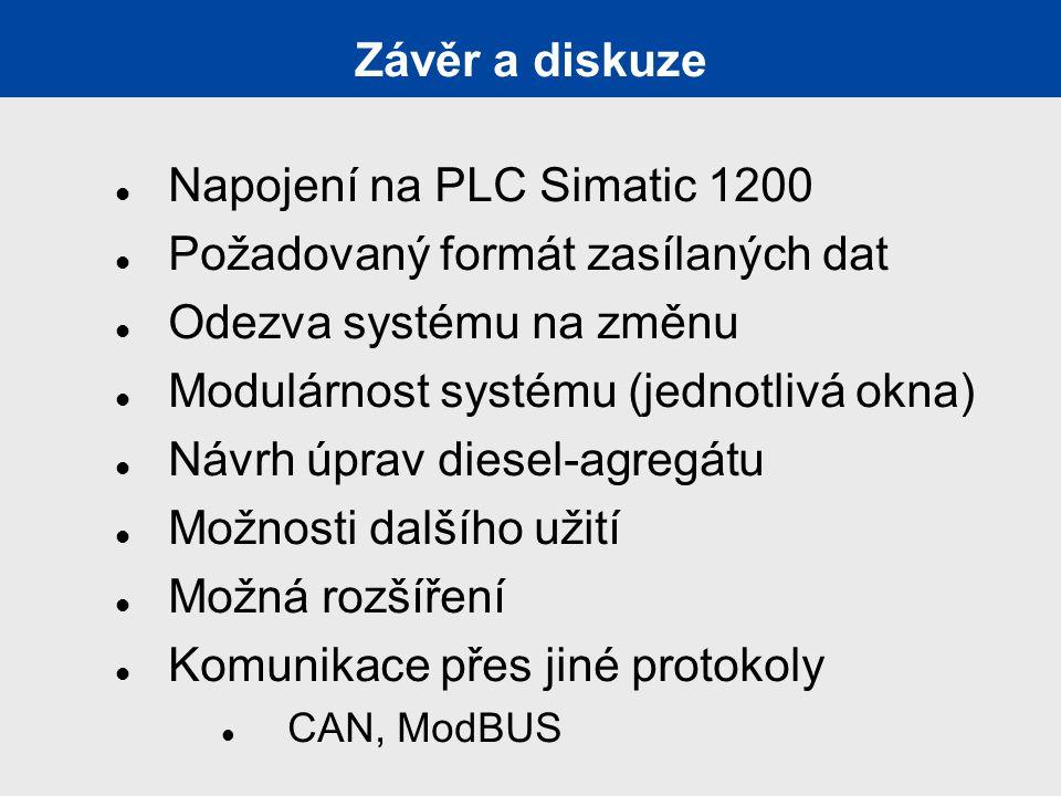 Závěr a diskuze Napojení na PLC Simatic 1200 Požadovaný formát zasílaných dat Odezva systému na změnu Modulárnost systému (jednotlivá okna) Návrh úprav diesel-agregátu Možnosti dalšího užití Možná rozšíření Komunikace přes jiné protokoly CAN, ModBUS