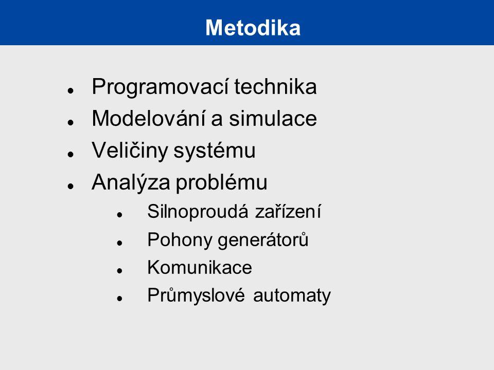 Metodika Programovací technika Modelování a simulace Veličiny systému Analýza problému Silnoproudá zařízení Pohony generátorů Komunikace Průmyslové automaty