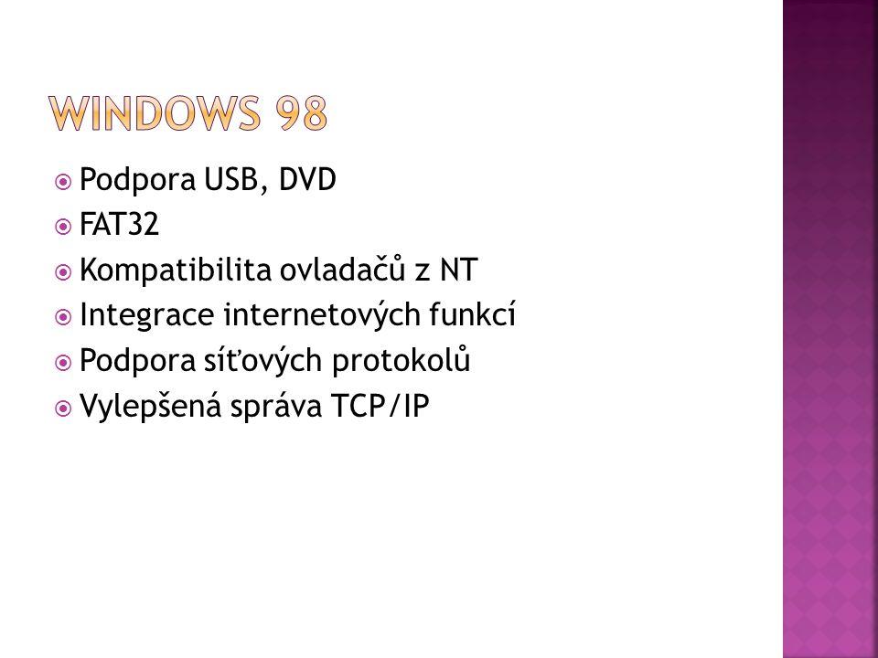  Podpora USB, DVD  FAT32  Kompatibilita ovladačů z NT  Integrace internetových funkcí  Podpora síťových protokolů  Vylepšená správa TCP/IP