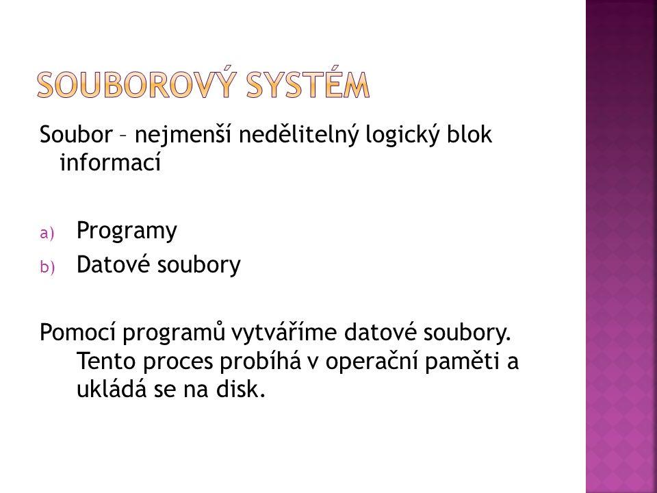 Soubor – nejmenší nedělitelný logický blok informací a) Programy b) Datové soubory Pomocí programů vytváříme datové soubory.