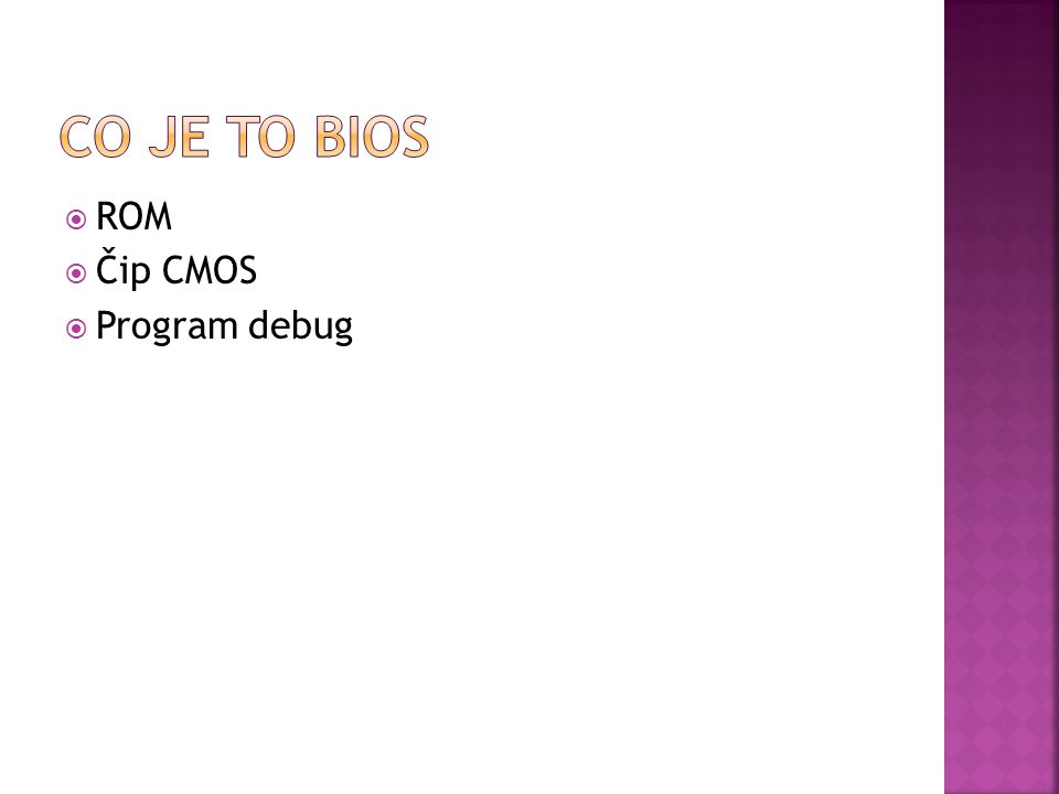  ROM  Čip CMOS  Program debug