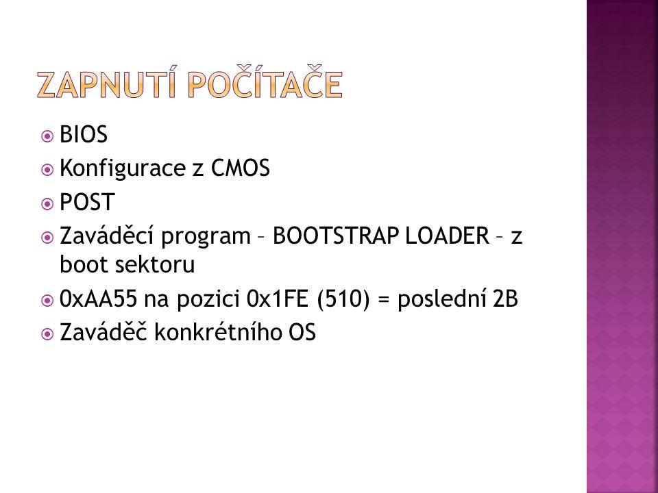  BIOS  Konfigurace z CMOS  POST  Zaváděcí program – BOOTSTRAP LOADER – z boot sektoru  0xAA55 na pozici 0x1FE (510) = poslední 2B  Zaváděč konkrétního OS