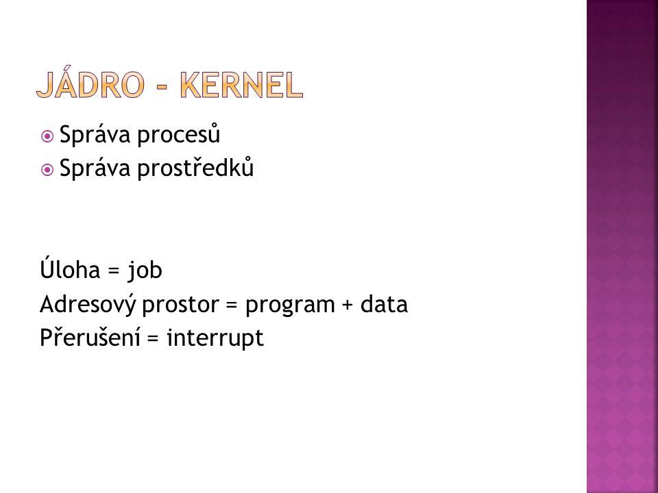  Správa procesů  Správa prostředků Úloha = job Adresový prostor = program + data Přerušení = interrupt
