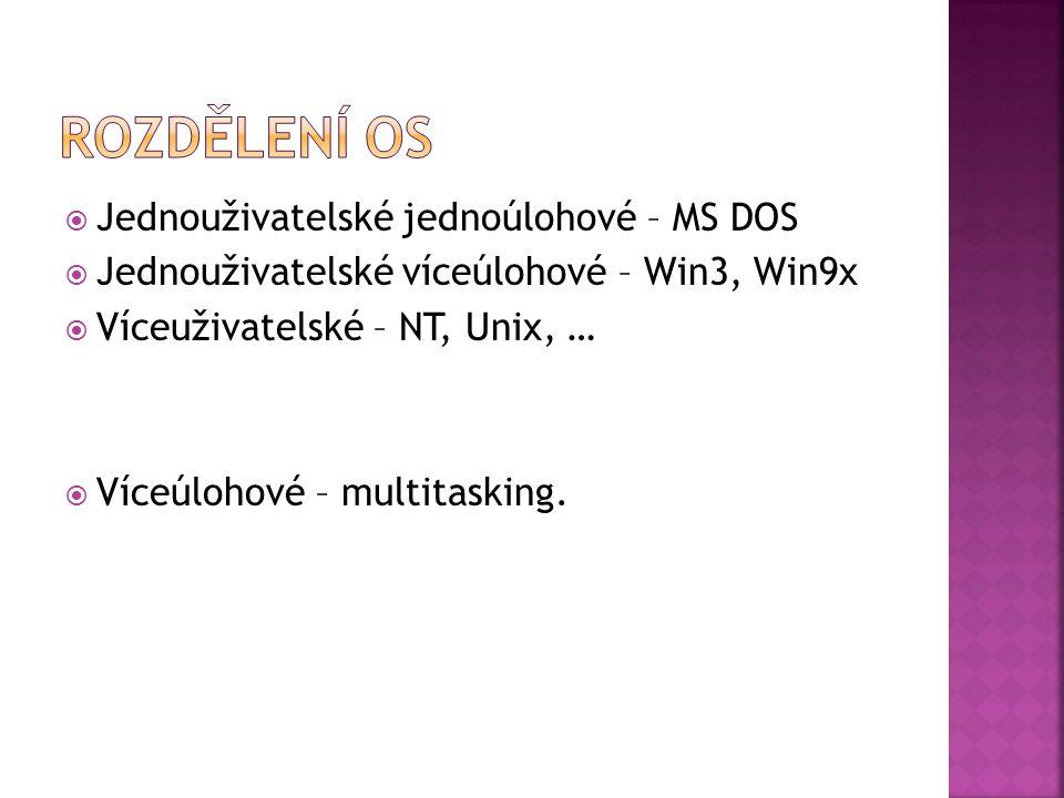  Jednouživatelské jednoúlohové – MS DOS  Jednouživatelské víceúlohové – Win3, Win9x  Víceuživatelské – NT, Unix, …  Víceúlohové – multitasking.