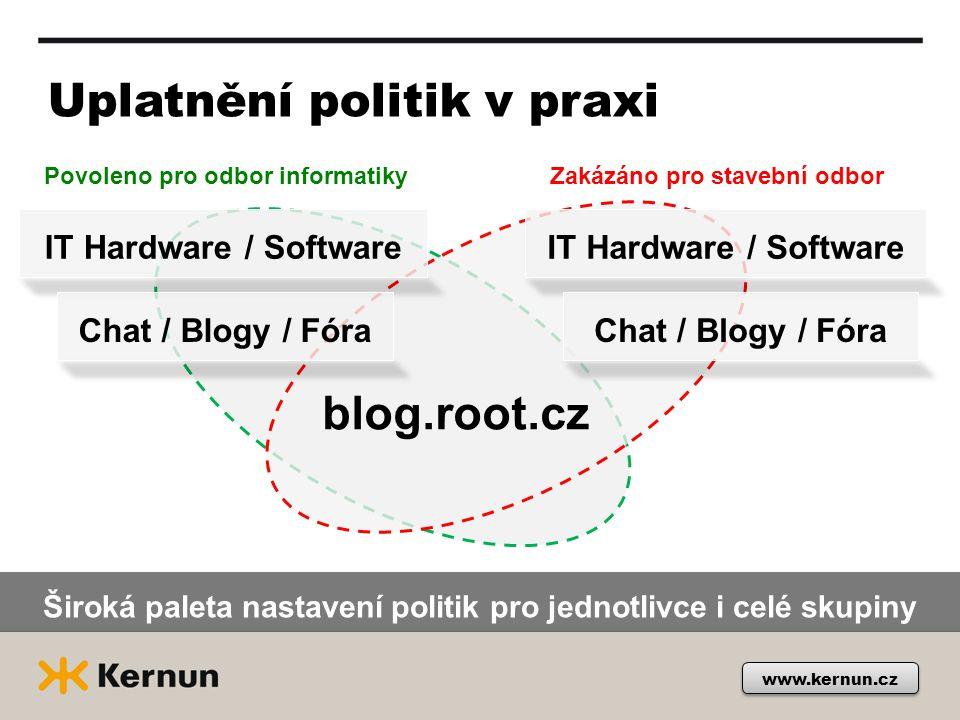 www.kernun.cz Uplatnění politik v praxi IT Hardware / Software blog.root.cz Chat / Blogy / Fóra Povoleno pro odbor informatikyZakázáno pro stavební od