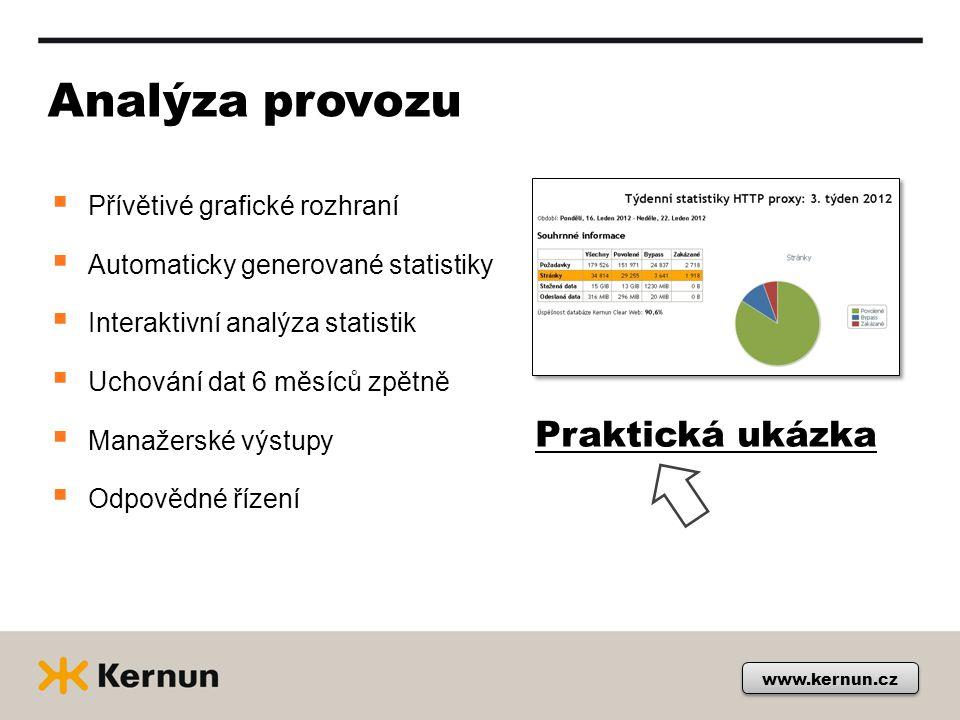 www.kernun.cz Analýza provozu  Přívětivé grafické rozhraní  Automaticky generované statistiky  Interaktivní analýza statistik  Uchování dat 6 měsí