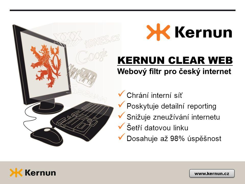 KERNUN CLEAR WEB Webový filtr pro český internet www.kernun.cz Chrání interní síť Poskytuje detailní reporting Snižuje zneužívání internetu Šetří dato
