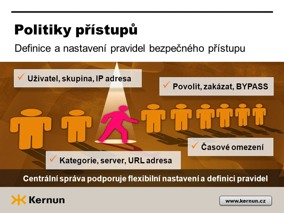 Autentizace uživatelů Podpora široké škály autentizačních mechanizmů Pokročilé nastavení pravidel pro konkrétního uživatele, skupinu či pracovní tým Kerberos NTLM Radius Basic LDAP www.kernun.cz