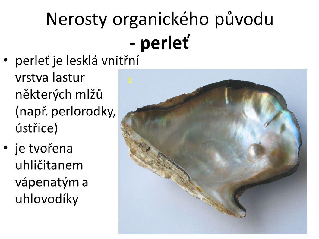 Nerosty organického původu - perleť 2 perleť je lesklá vnitřní vrstva lastur některých mlžů (např.