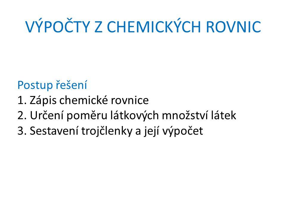 VÝPOČTY Z CHEMICKÝCH ROVNIC Postup řešení 1. Zápis chemické rovnice 2.