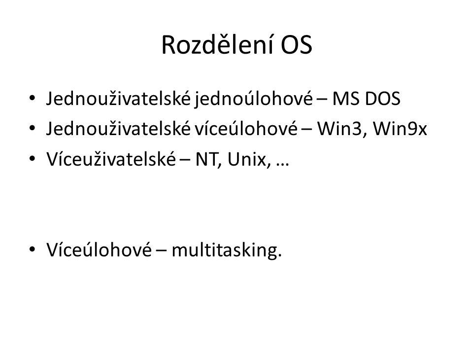 Rozdělení OS Jednouživatelské jednoúlohové – MS DOS Jednouživatelské víceúlohové – Win3, Win9x Víceuživatelské – NT, Unix, … Víceúlohové – multitasking.