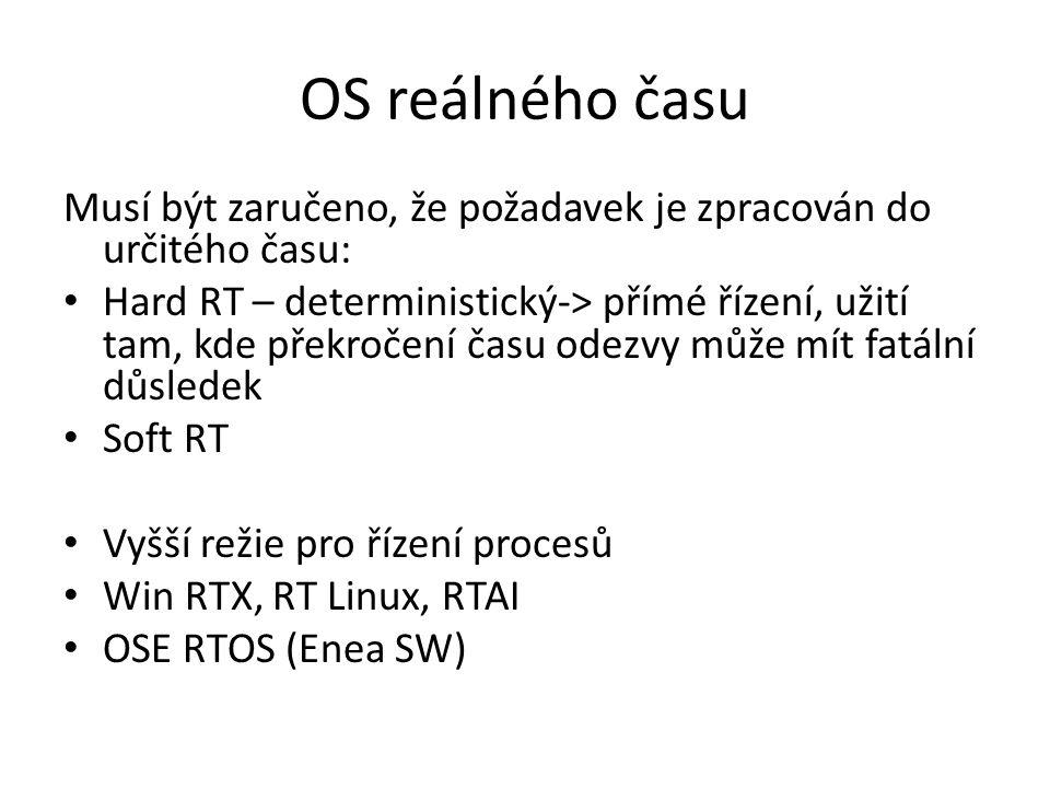 OS reálného času Musí být zaručeno, že požadavek je zpracován do určitého času: Hard RT – deterministický-> přímé řízení, užití tam, kde překročení ča