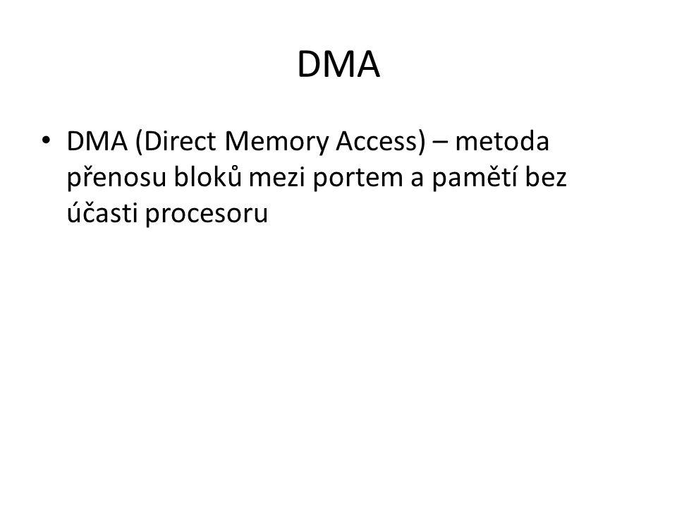 DMA DMA (Direct Memory Access) – metoda přenosu bloků mezi portem a pamětí bez účasti procesoru