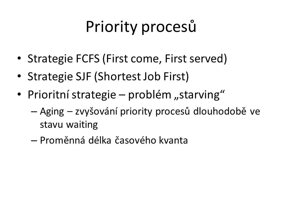 """Priority procesů Strategie FCFS (First come, First served) Strategie SJF (Shortest Job First) Prioritní strategie – problém """"starving – Aging – zvyšování priority procesů dlouhodobě ve stavu waiting – Proměnná délka časového kvanta"""