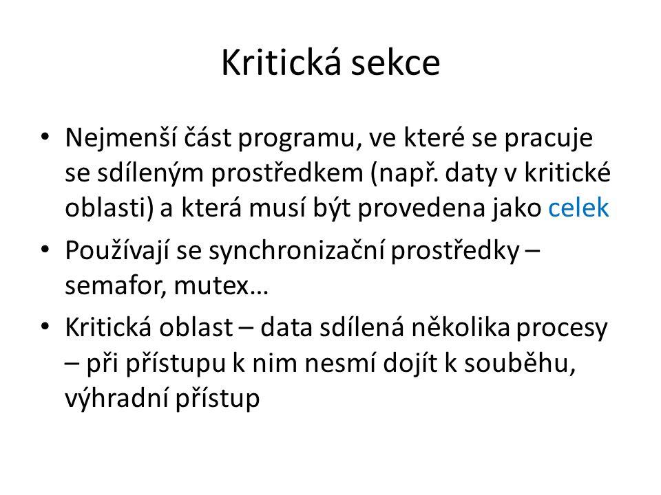 Kritická sekce Nejmenší část programu, ve které se pracuje se sdíleným prostředkem (např. daty v kritické oblasti) a která musí být provedena jako cel