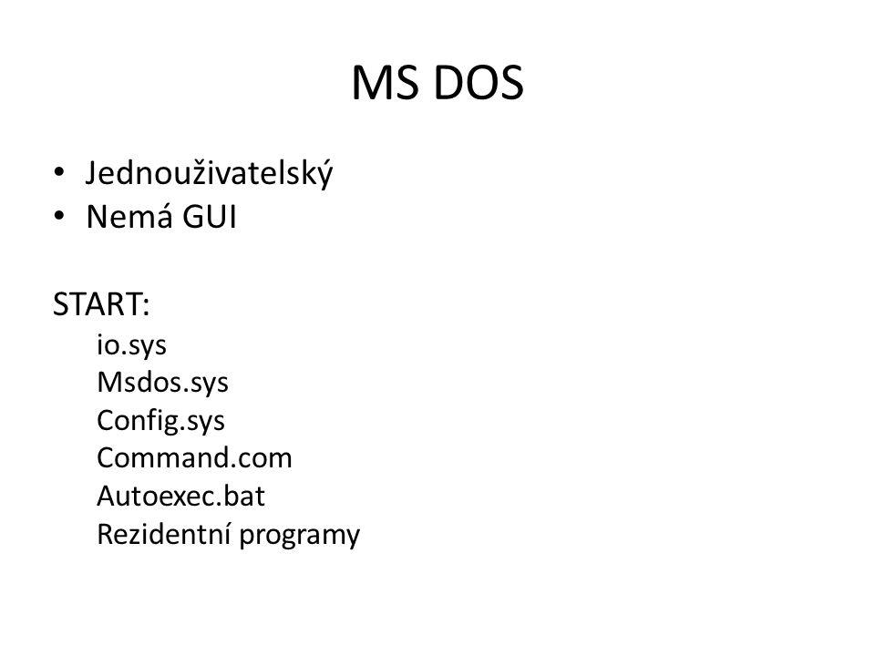MS DOS Jednouživatelský Nemá GUI START: io.sys Msdos.sys Config.sys Command.com Autoexec.bat Rezidentní programy