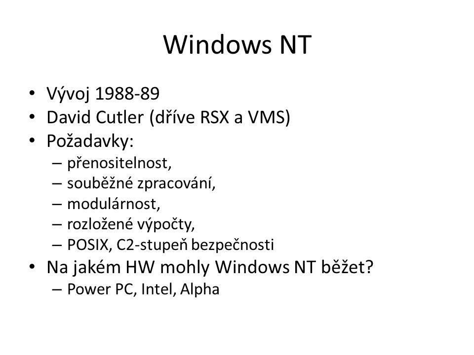 Windows NT Vývoj 1988-89 David Cutler (dříve RSX a VMS) Požadavky: – přenositelnost, – souběžné zpracování, – modulárnost, – rozložené výpočty, – POSIX, C2-stupeň bezpečnosti Na jakém HW mohly Windows NT běžet.