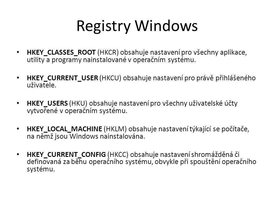 Registry Windows HKEY_CLASSES_ROOT (HKCR) obsahuje nastavení pro všechny aplikace, utility a programy nainstalované v operačním systému. HKEY_CURRENT_