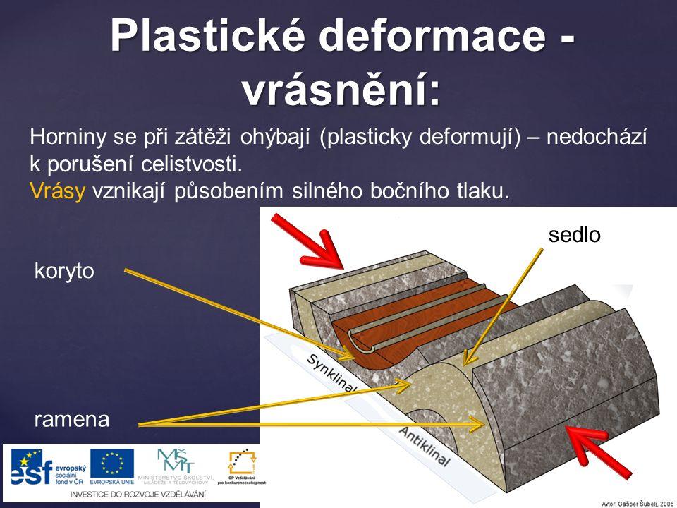 Plastické deformace - vrásnění: Horniny se při zátěži ohýbají (plasticky deformují) – nedochází k porušení celistvosti.