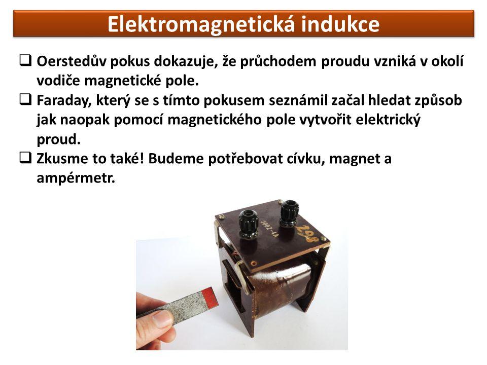 Elektromagnetická indukce  Oerstedův pokus dokazuje, že průchodem proudu vzniká v okolí vodiče magnetické pole.  Faraday, který se s tímto pokusem s