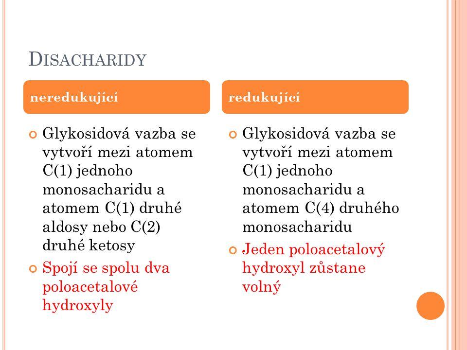 D ISACHARIDY Glykosidová vazba se vytvoří mezi atomem C(1) jednoho monosacharidu a atomem C(1) druhé aldosy nebo C(2) druhé ketosy Spojí se spolu dva