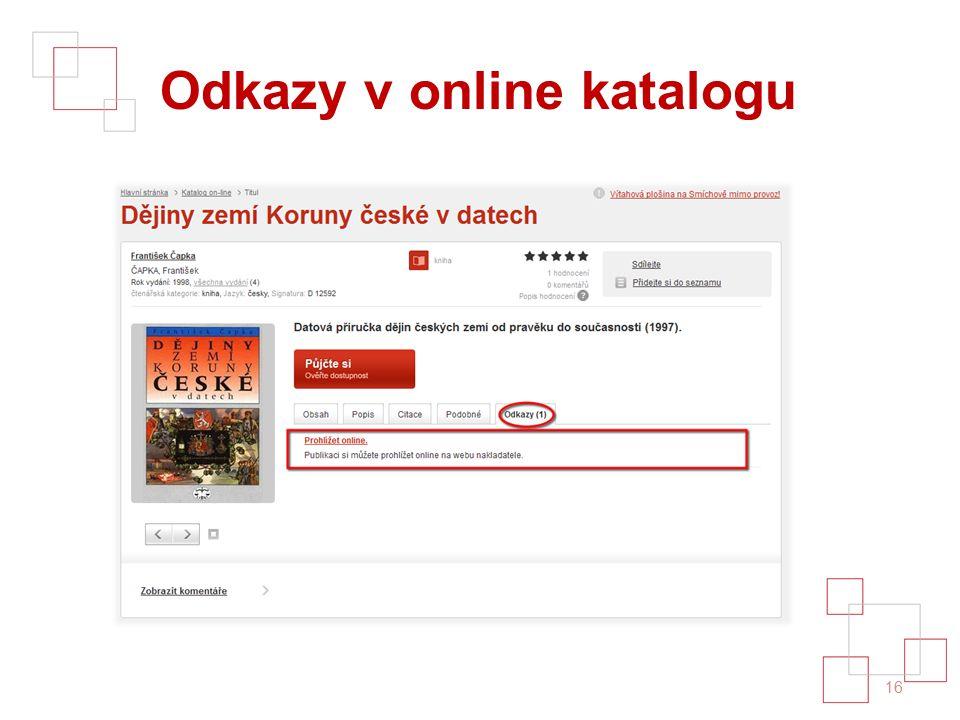 Odkazy v online katalogu 16
